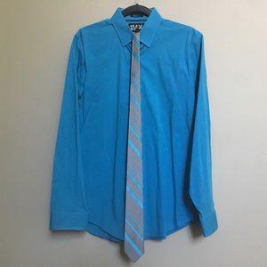 EXPRESS MX1 Modern turquoise shirt & Cardin tie L